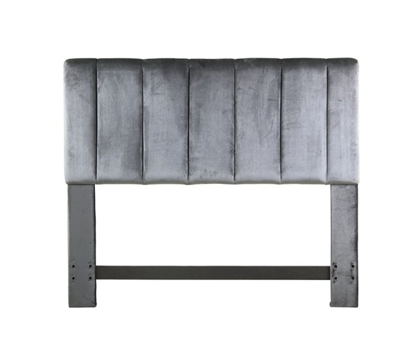 Chic Home Uriella Grey Velvet Vertical Striped Queen Headboard CHIC-FHB9059-CE