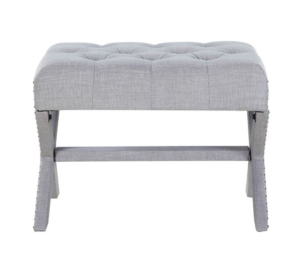 Chic Home Paige Grey Fabric Tufted Nailhead Ottoman CHIC-FON2774-CE