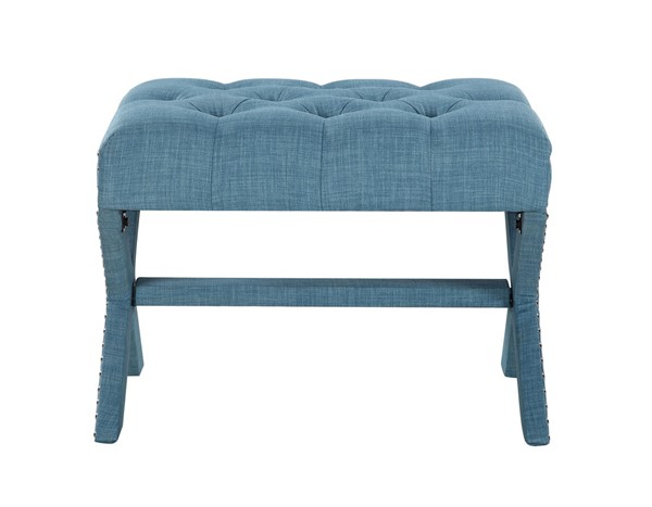 Chic Home Paige Blue Fabric Tufted Nailhead Ottoman CHIC-FON2776-CE