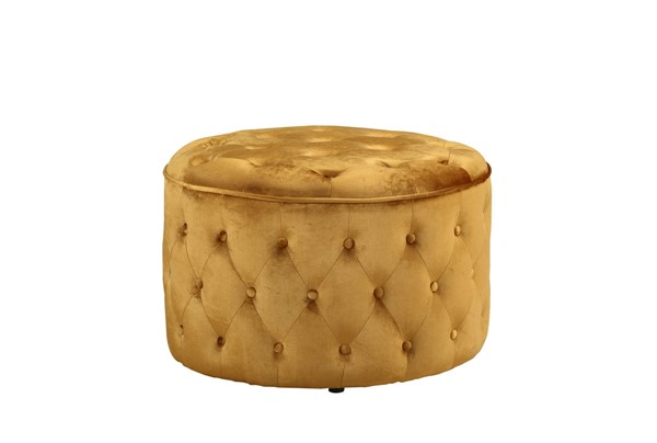 Chic Home Batya Cognac Velvet Button Tufted Round Ottoman CHIC-FON9072-CE