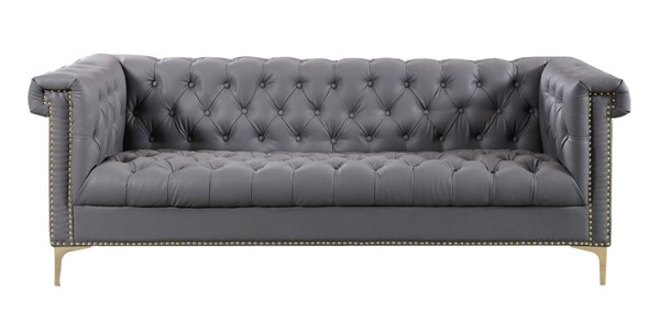 Chic Home Winston Grey PU Button Tufted Sofa CHIC-FSA2573-CE