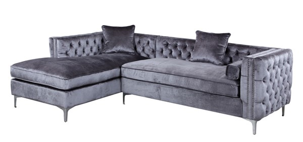 Chic Home Da Vinci Velvet Left Facing Sectional Sofas CHIC-FSA2580-SEC-VAR