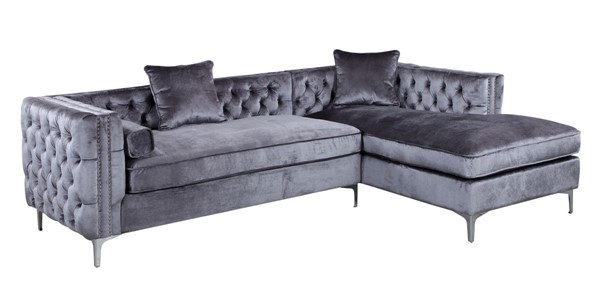 Chic Home Da Vinci Grey Velvet Right Facing Sectional Sofa with 3 Pillows CHIC-FSA2581-CE