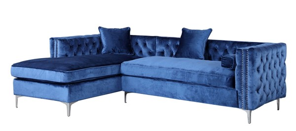 Chic Home Da Vinci Navy Velvet Left Facing Sectional Sofa with 3 Pillows CHIC-FSA2582-CE