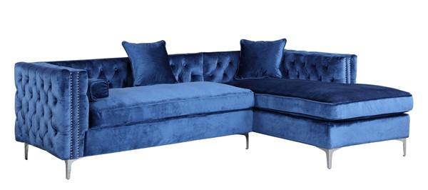 Chic Home Da Vinci Navy Velvet Right Facing Sectional Sofa with 3 Pillows CHIC-FSA2583-CE