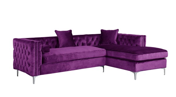 Chic Home Da Vinci Purple Velvet Right Facing Sectional Sofa with 3 Pillows CHIC-FSA2585-CE
