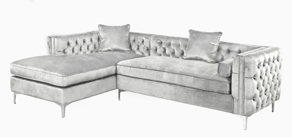 Chic Home Da Vinci Silver Velvet Left Facing Sectional Sofa with 3 Pillows CHIC-FSA2586-CE