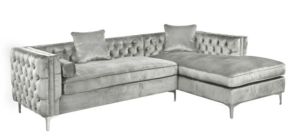 Chic Home Da Vinci Silver Velvet Right Facing Sectional Sofa with 3 Pillows CHIC-FSA2587-CE