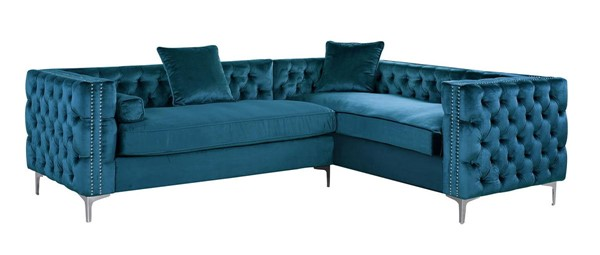 Chic Home Mozart Teal Right Hand Facing Sectional Sofa with 3 Accent Pillows CHIC-FSA2589-CE