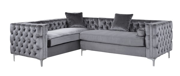 Chic Home Mozart Grey Left Hand Facing Sectional Sofa with 3 Accent Pillows CHIC-FSA2590-CE