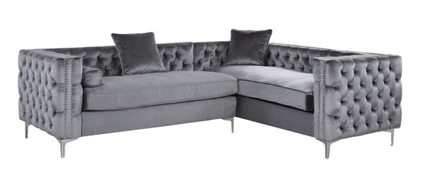 Chic Home Mozart Grey Right Hand Facing Sectional Sofa with 3 Accent Pillows CHIC-FSA2591-CE