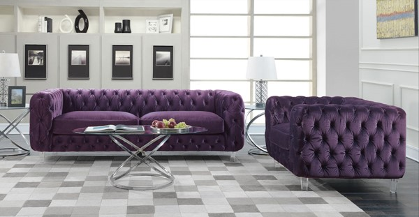 Chic Home Syracus Purple Velvet Sofa and Club Chair Set CHIC-FCC265-LR-S4