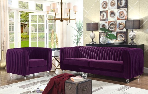Chic Home Kent Modern Purple Velvet Sofa and Club Chair Set CHIC-FCC266-LR-S2