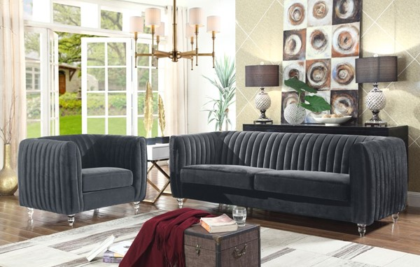 Chic Home Kent Modern Grey Velvet Sofa and Club Chair Set CHIC-FCC266-LR-S3