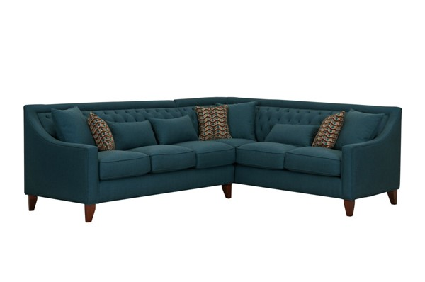 Chic Home Aberdeen Teal Fabric Right Facing Sectional Sofa with 3 Pillows CHIC-FSA2676-CE
