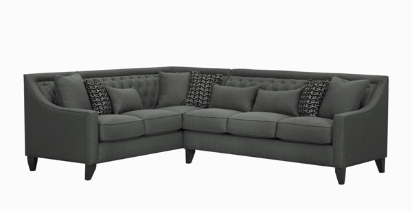 Chic Home Aberdeen Grey Fabric Left Facing Sectional Sofa with 3 Pillows CHIC-FSA2677-CE