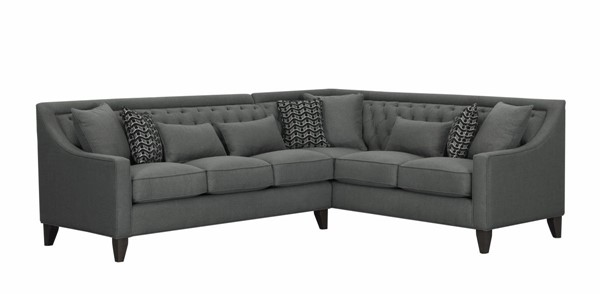 Chic Home Aberdeen Grey Fabric Right Facing Sectional Sofa with 3 Pillows CHIC-FSA2678-CE