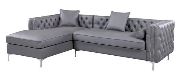Chic Home Da Vinci Grey PU Left Hand Facing Sectional Sofa with 3 Pillows CHIC-FSA2738-CE