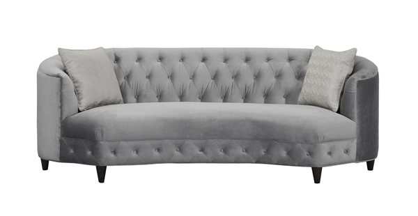 Chic Home Leeba Grey Kidney Shaped Club Sofa with 2 Accent Pillows CHIC-FSA2804-CE