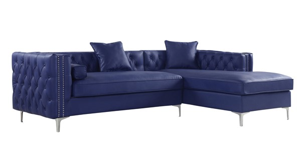 Chic Home Da Vinci Navy PU Right Hand Facing Sectional Sofa with 3 Pillows CHIC-FSA2839-CE