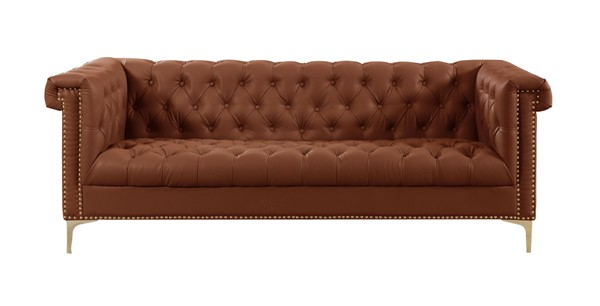 Chic Home Winston Brown PU Button Tufted Sofa CHIC-FSA2846-CE