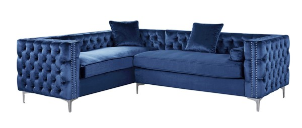 Chic Home Mozart Navy Left Hand Facing Sectional Sofa with 3 Accent Pillows CHIC-FSA2847-CE