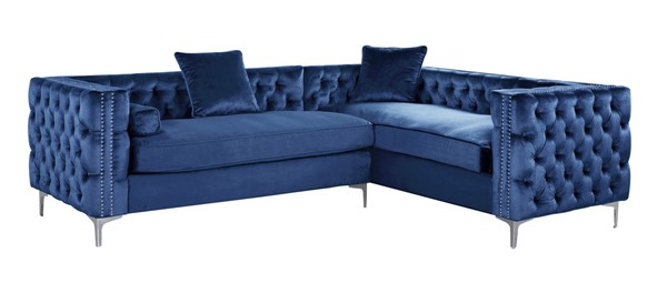 Chic Home Mozart Navy Right Hand Facing Sectional Sofa with 3 Accent Pillows CHIC-FSA2848-CE
