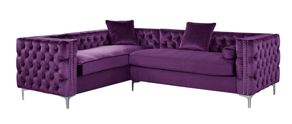 Chic Home Mozart Plum Left Hand Facing Sectional Sofa with 3 Accent Pillows CHIC-FSA2849-CE