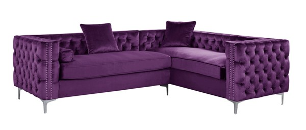Chic Home Mozart Plum Right Hand Facing Sectional Sofa with 3 Accent Pillows CHIC-FSA2850-CE