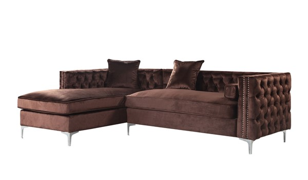 Chic Home Da Vinci Brown Velvet Left Facing Sectional Sofa with 3 Pillows CHIC-FSA2869-CE