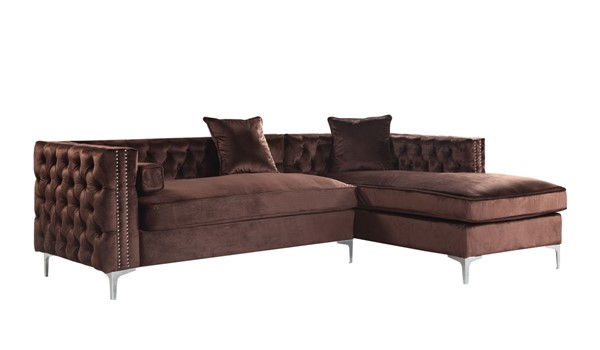 Chic Home Da Vinci Brown Velvet Right Facing Sectional Sofa with 3 Pillows CHIC-FSA2870-CE