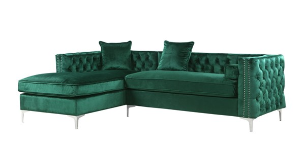 Chic Home Da Vinci Green Velvet Left Facing Sectional Sofa with 3 Pillows CHIC-FSA2871-CE