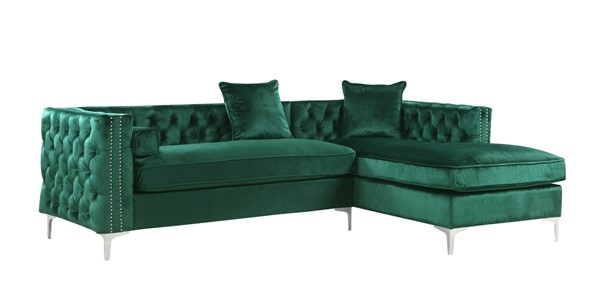 Chic Home Da Vinci Green Velvet Right Facing Sectional Sofa with 3 Pillows CHIC-FSA2872-CE