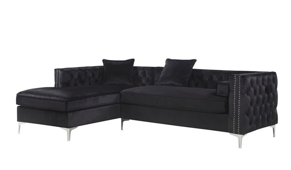 Chic Home Da Vinci Black Velvet Left Facing Sectional Sofa with 3 Pillows CHIC-FSA2875-CE