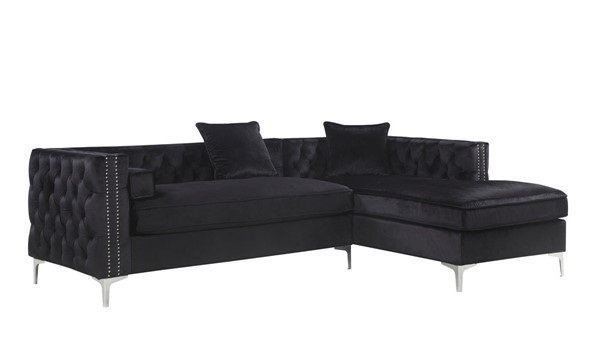 Chic Home Da Vinci Black Velvet Right Facing Sectional Sofa with 3 Pillows CHIC-FSA2876-CE