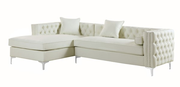 Chic Home Da Vinci Cream PU Left Hand Facing Sectional Sofa with 3 Pillows CHIC-FSA2902-CE