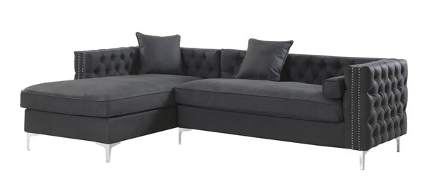 Chic Home Da Vinci Black PU Left Hand Facing Sectional Sofa with 3 Pillows CHIC-FSA2904-CE