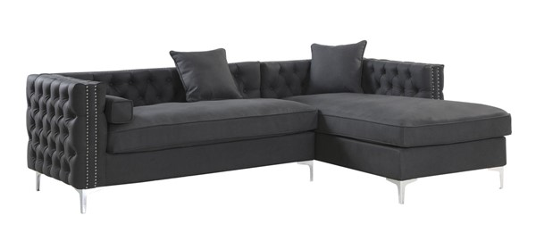 Chic Home Da Vinci Black PU Right Hand Facing Sectional Sofa with 3 Pillows CHIC-FSA2905-CE