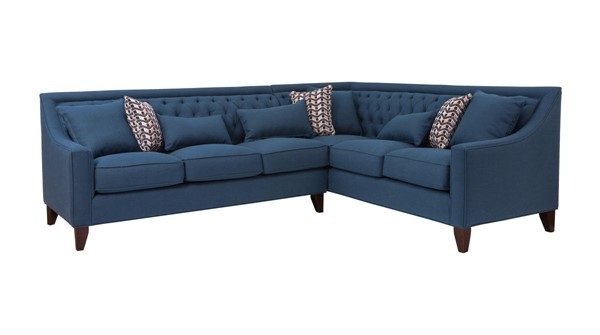 Chic Home Aberdeen Navy Fabric Right Facing Sectional Sofa with 3 Pillows CHIC-FSA2909-CE