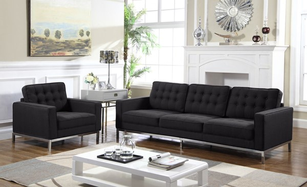 Chic Home Draper Black Fabric Button Tufted Sofa and Club Chair Set CHIC-FCC293-LR-S4