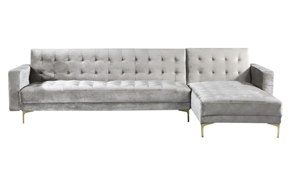 Chic Home Amandal Velvet Right Facing Convertible Sectional Sofa Sleeper Beds CHIC-FSA9006-SEC-VAR
