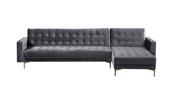 Chic Home Amandal Grey Velvet Right Facing Convertible Sectional Sofa Sleeper Bed CHIC-FSA9007-CE