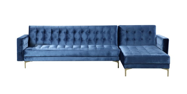 Chic Home Amandal Navy Velvet Right Facing Convertible Sectional Sofa Sleeper Bed CHIC-FSA9008-CE