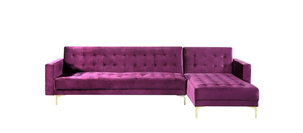 Chic Home Amandal Purple Velvet Right Facing Convertible Sectional Sofa Sleeper Bed CHIC-FSA9010-CE