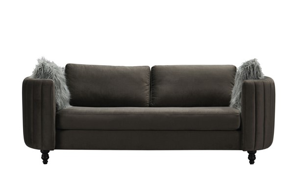 Chic Home Riviera Grey Velvet Sofa with 2 Faux Fur Pillows CHIC-FSA9123-CE