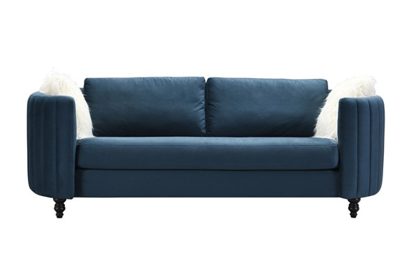 Chic Home Riviera Blue Velvet Sofa with 2 Faux Fur Pillows CHIC-FSA9124-CE