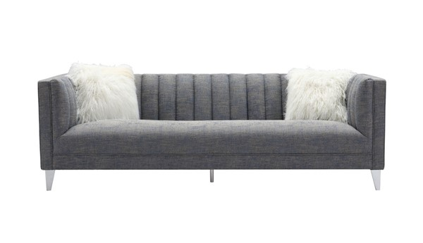 Chic Home Montmarte Blue Textured Fabric Sofa with 2 Faux Fur Pillows CHIC-FSA9129-CE
