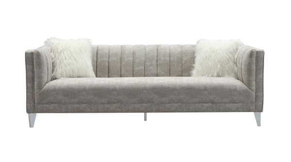 Chic Home Montmarte Beige Textured Fabric Sofa with 2 Faux Fur Pillows CHIC-FSA9130-CE