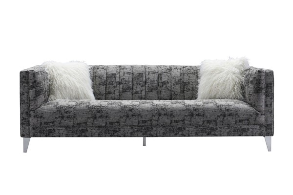 Chic Home Montmarte Black Textured Fabric Sofa with 2 Faux Fur Pillows CHIC-FSA9131-CE