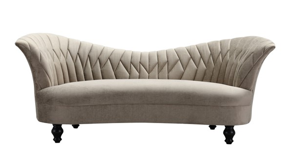 Chic Home Mont Blanc Taupe Velvet Kidney Shape Sofa CHIC-FSA9134-CE